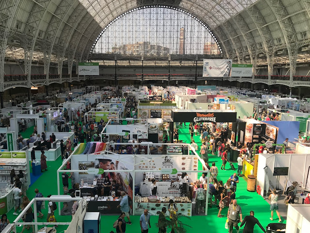 A view from the balcony down towards all the stalls in London Olympia