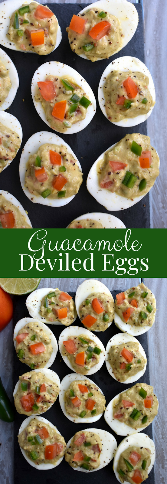 Guacamole Deviled Eggs is an awesome appetizer that features hard boiled egg whites filled with flavorful guacamole with jalapeno and tomatoes. www.nutritionistreviews.com