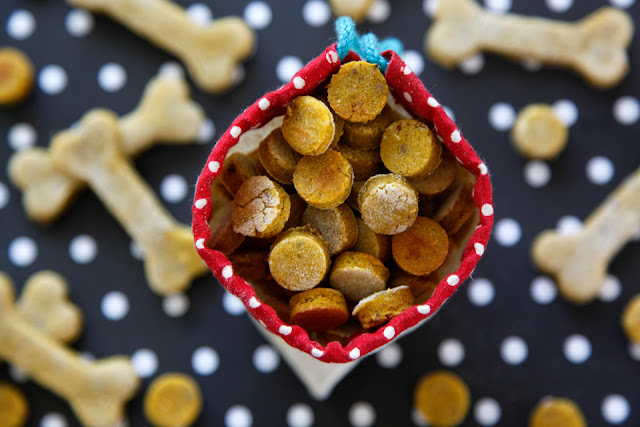Homemade pumpkin and salmon dog treats in a drawstring treat bag