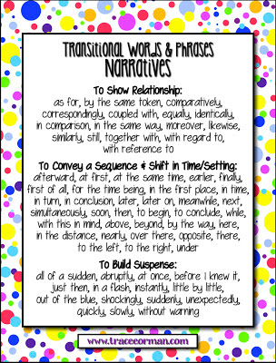 Transitions for Narratives Anchor Chart www.traceeorman.com