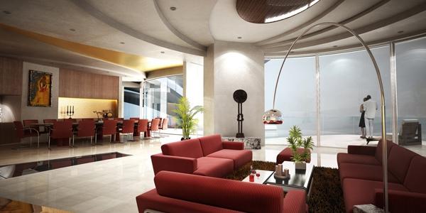 Ruangan langit-langit bagus dengan interior menawan