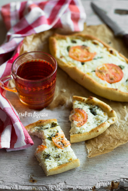 Featured Recipe // Khachapuri – Georgian Cheesy Flatbread from Chef in Disguise #bread #SecretRecipeClub #recipe
