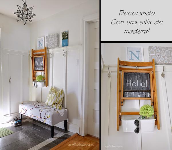 Decorando un recibidor con una silla de madera decorar - Sillas para recibidor ...