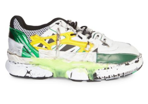 bfd45fe3f7a Maison Margiela s Fusion Sneaker reappears in eye-grabbing green and yellow  hues. The handmade sneaker showcases drastic deconstruction