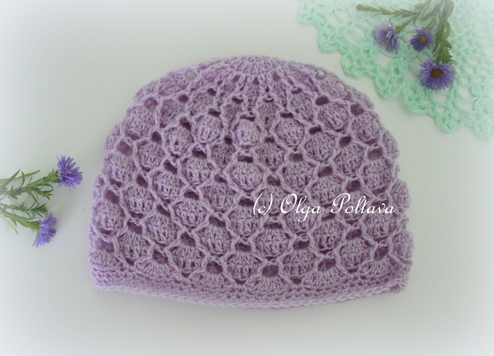 Crochet Beanie Hat Pattern For Babies : Lacy Crochet: Delicate Lace Crochet Baby Hat, Free Pattern ...