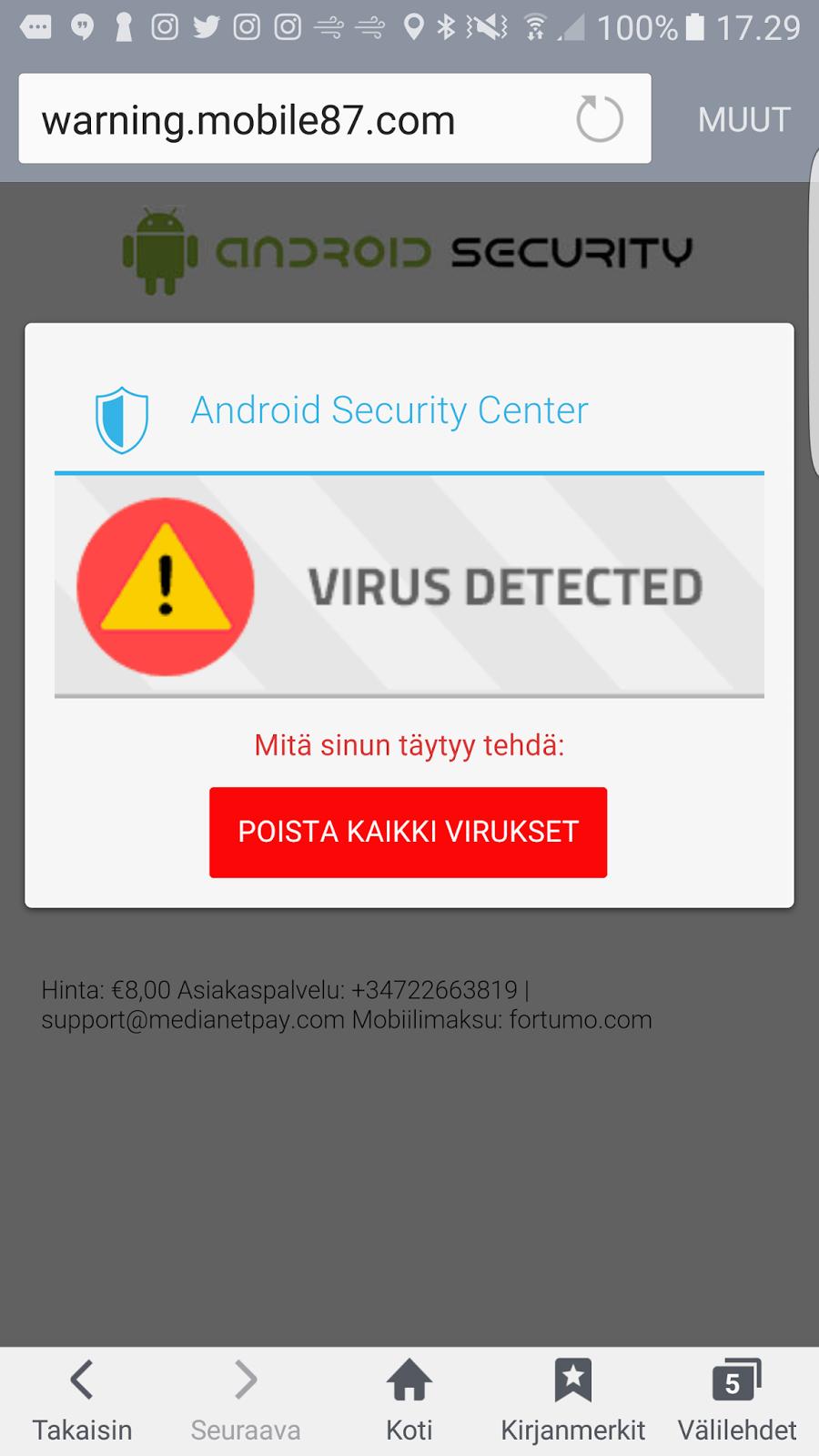 Havaintoja digimaailmasta: AMS Antivirus huijaus rahastaa kahdeksan euroa