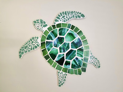 sea turtle art stained glass mosaic coastal art