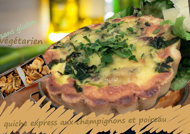 tarte aux champignons et poireau, fromage, sans gluten, végétarienne