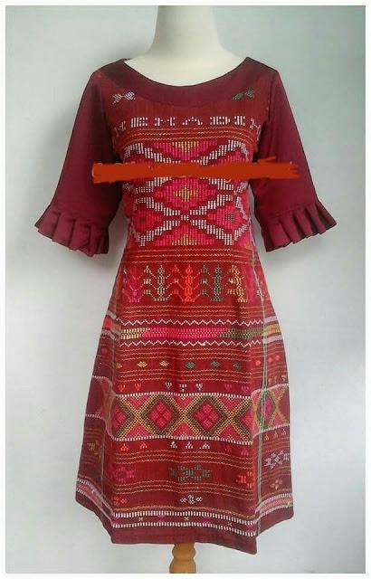 Inspirasi Model Dress Blouse Kemeja Bahan Full Ulos Dan Mix Ulos