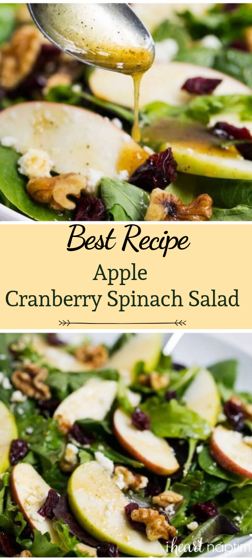Apple Cranberry Spinach Salad #vegan #recipevegetarian