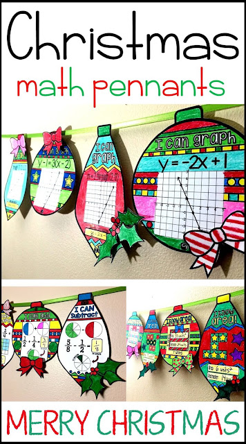 Christmas math pennant activities for elementary, middle and high school math students.