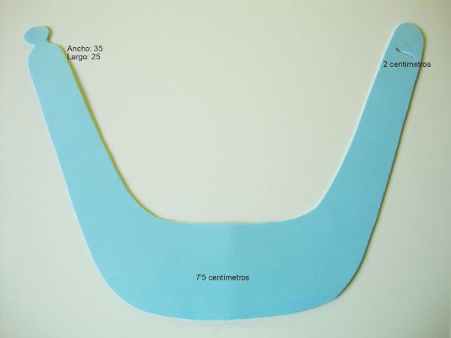 Medidas de la visera de goma eva de Nemo y Dory