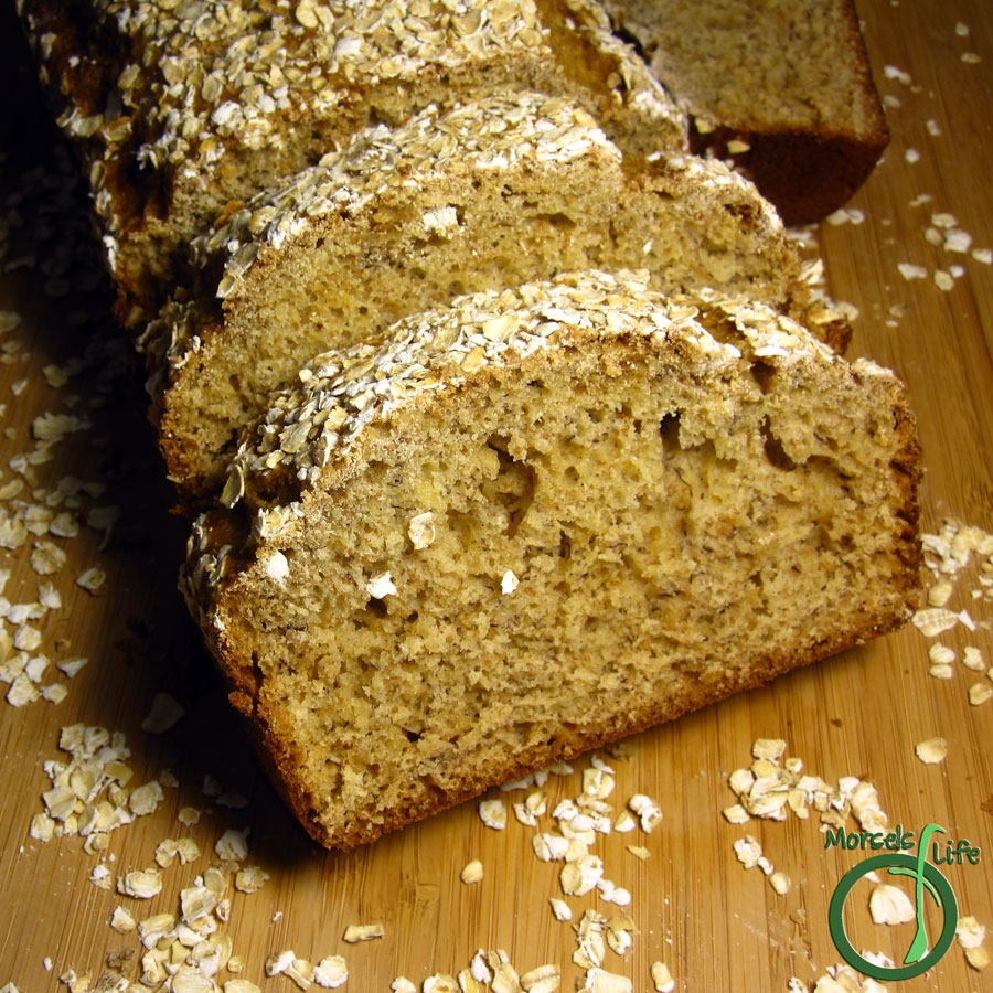 Morsels of Life - Skinny Banana Bread - A surprisingly moist banana bread with a crispy oatmeal topping.