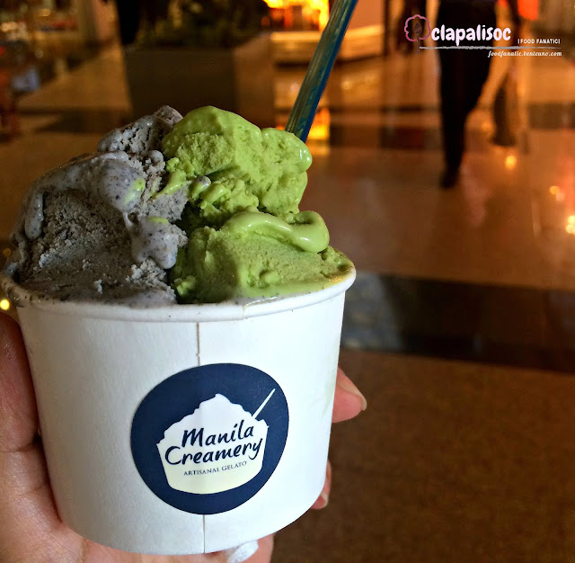 Black Sesame and Matcha Gelato from Manila Creamery