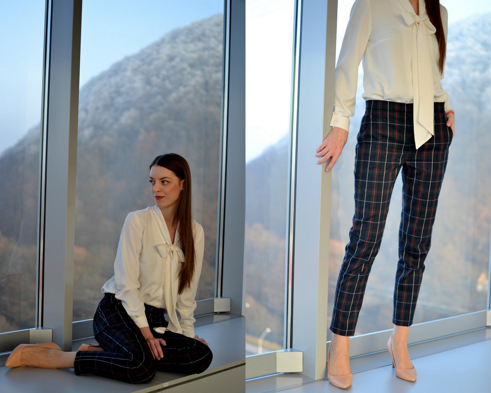 ec3c5f0b2614 Elegantné nohavice s kockovaným vzorom z našej dielne