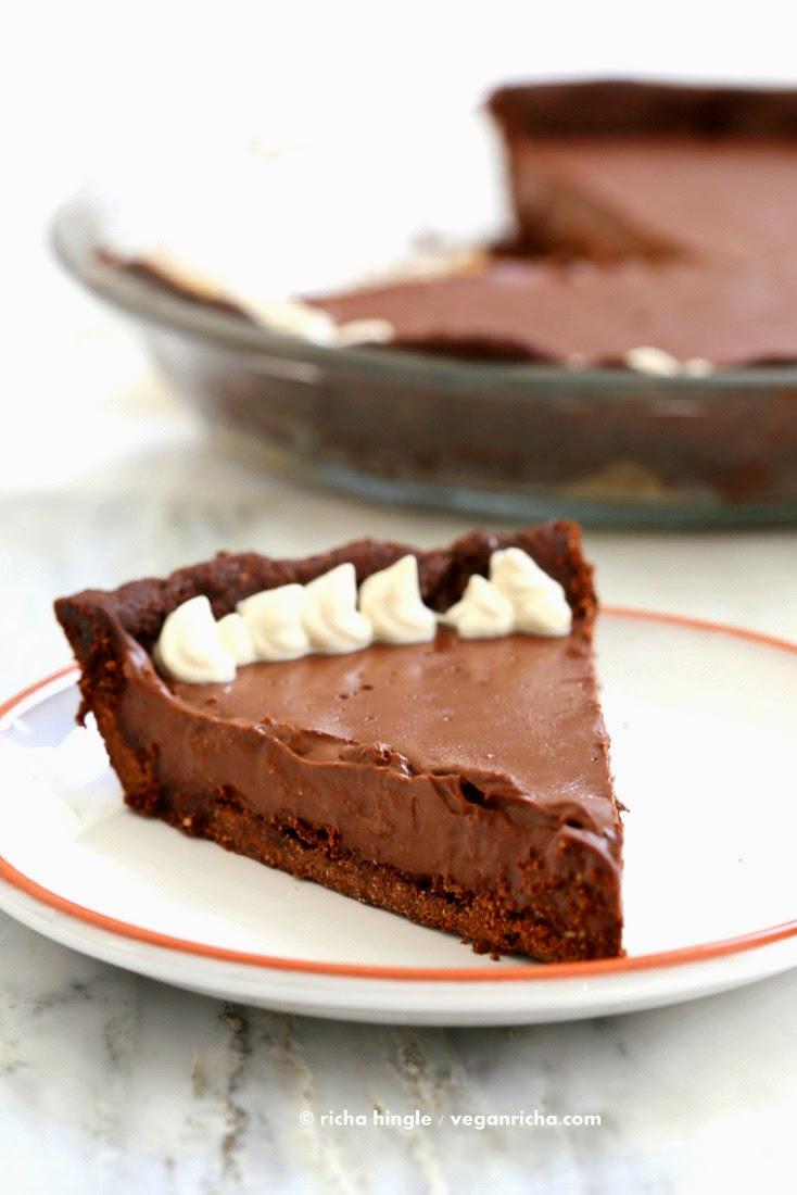 Dark Chocolate Silk Pie With Chocolate Almond Crust For