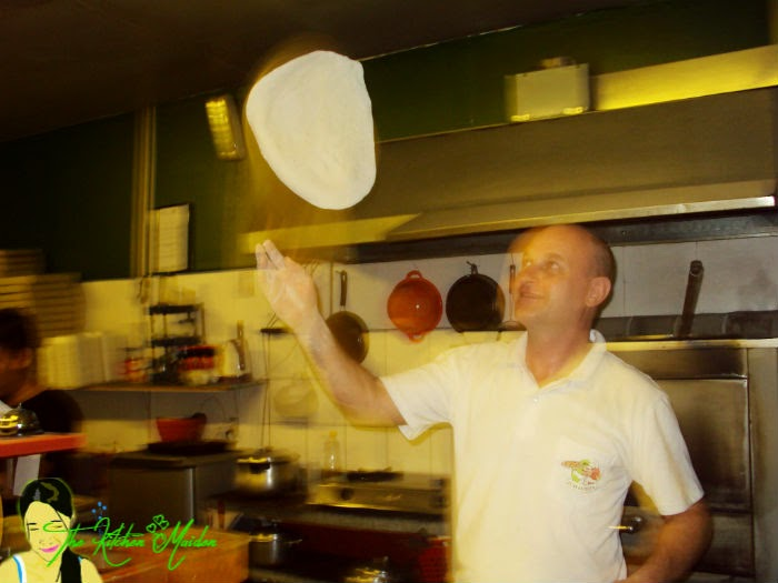 Giovanni making pizza dough in his Italian pizza restaurant in Basak Lapu Lapu