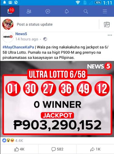 6/58 Lotto Results/Facebook