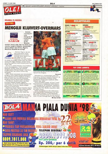 UJI COBA 1998 BELANDA VS NIGERIA MENGUJI KLUIVERT-OVERMARS
