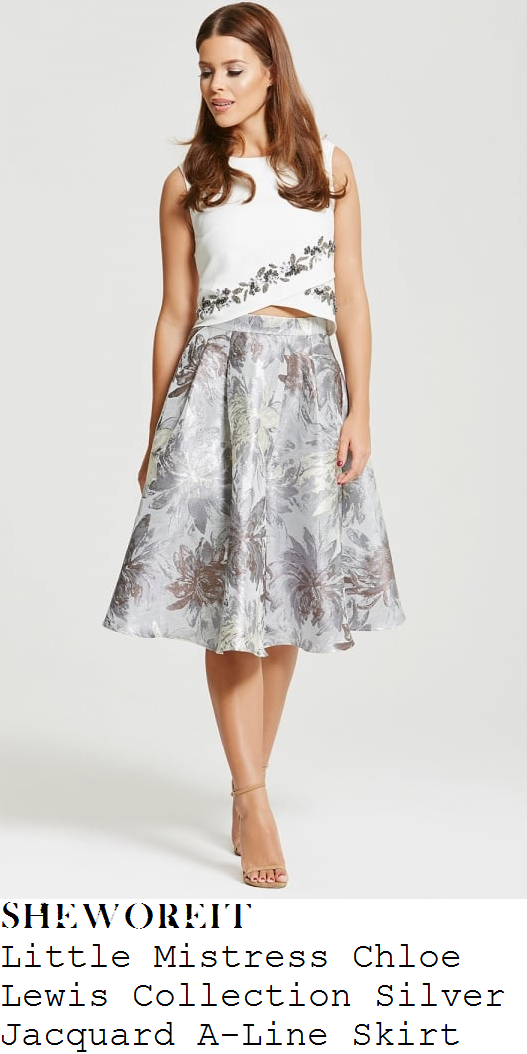 chloe-lewis-silver-jacquard-floral-print-high-waisted-full-skirt-little-mistress-lfw