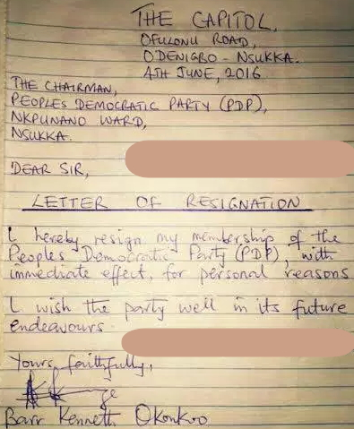 kenneth okonkwo pdp resignation letter