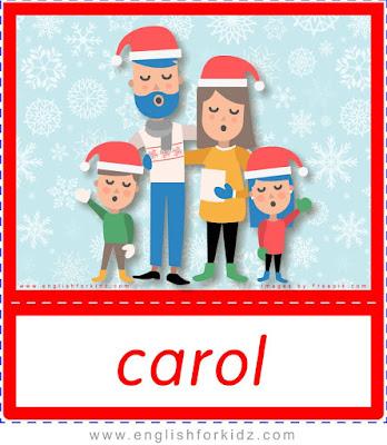 Christmas carol, carolers, Christmas flashcards for educators