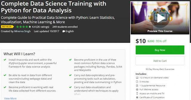 [95% Off] Complete Data Science Training with Python for Data Analysis| Worth 200$