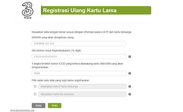 Cara Registrasi Ulang Kartu Tri Memalui web