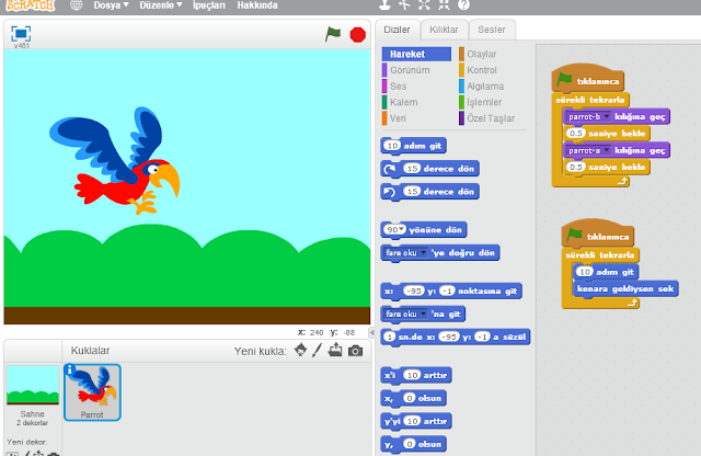 Scratch ile hareket ettirme