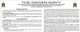 Navy SSR sailor bharti Feb 2019 batch - Last date 15 June 2018