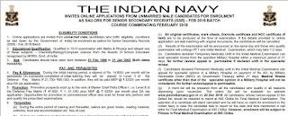 Navy SSR sailor bharti Feb 2019 batch - Last date 15 June 2018