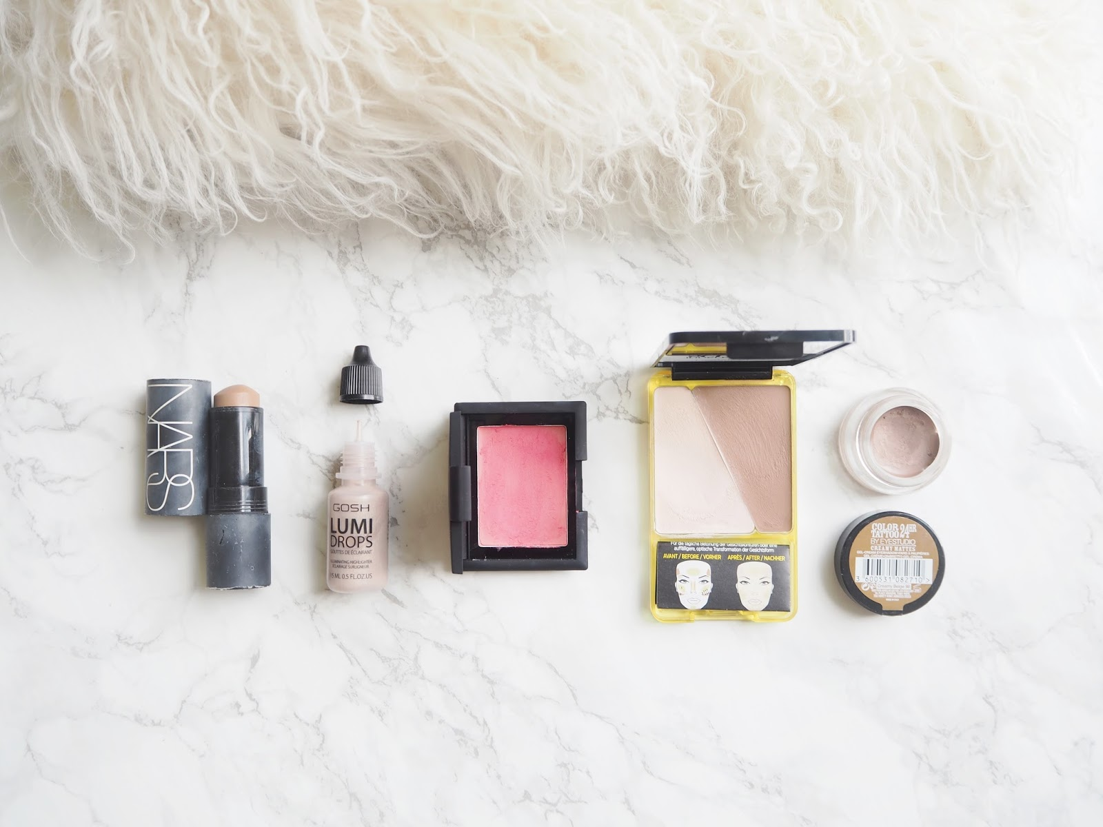 Five Cream Product Favourites, cream products for summer, nars matte multiple altai, gosh lumi drops 002 vanilla, sleek creme to powder blush french rose, loreal infallible sculpt contour palette review, maybelline color tattoo leather effect creamy beige, review