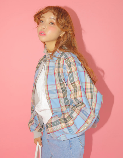 Buttoned Collar Reversible Check Jacket