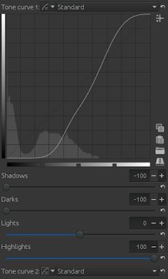 Tone curve settings of RawTherapee