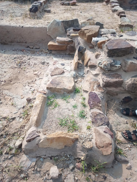 Stone foundation of small bathroom part of a house in the Dholavira Middle Town