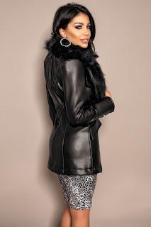 Jacheta din piele ecologica cu guler de blana-2