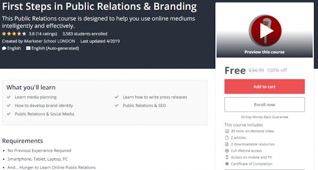 [100% Off] First Steps in Public Relations & Branding| Worth 34,99$