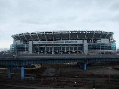 cleveland browns stadium, view from highway
