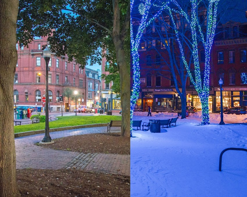 Seasons of Portland, Maine USA photos by Corey Templeton. August 2016 and December 2013 in Tommy's Park in the Old Port.