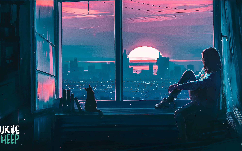 Anime Girl Cat City Scenery 4k Wallpaper 145