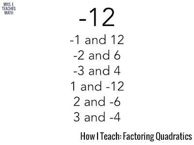 How I Teach Factoring Quadratics