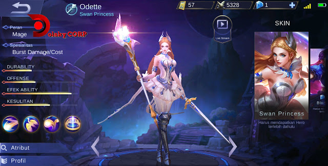 Mobile Legends : Hero Odette ( Swan Princess ) Burst Damage Builds Set up Gear