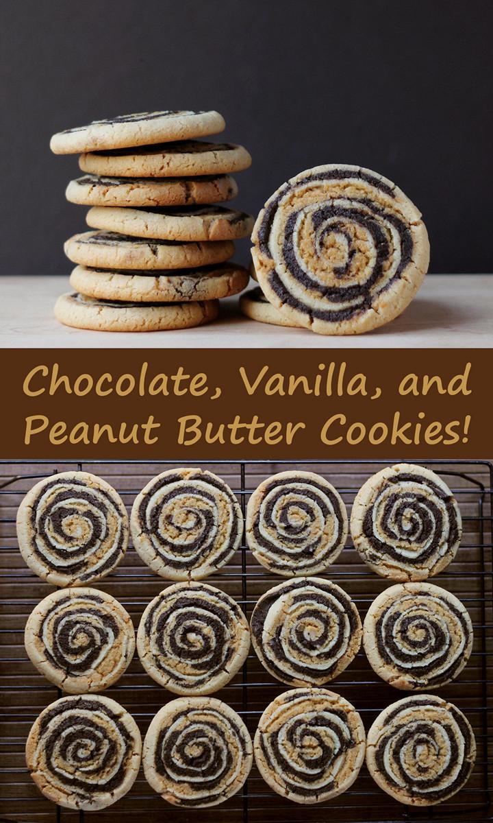 Chocolate, Vanilla, and Peanut Butter Swirl Cookies