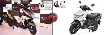 Yamaha Cygnus Ray ZR VS Honda Dio color and price