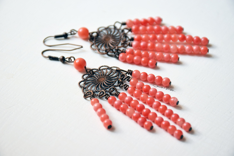 orecchini beads corallo