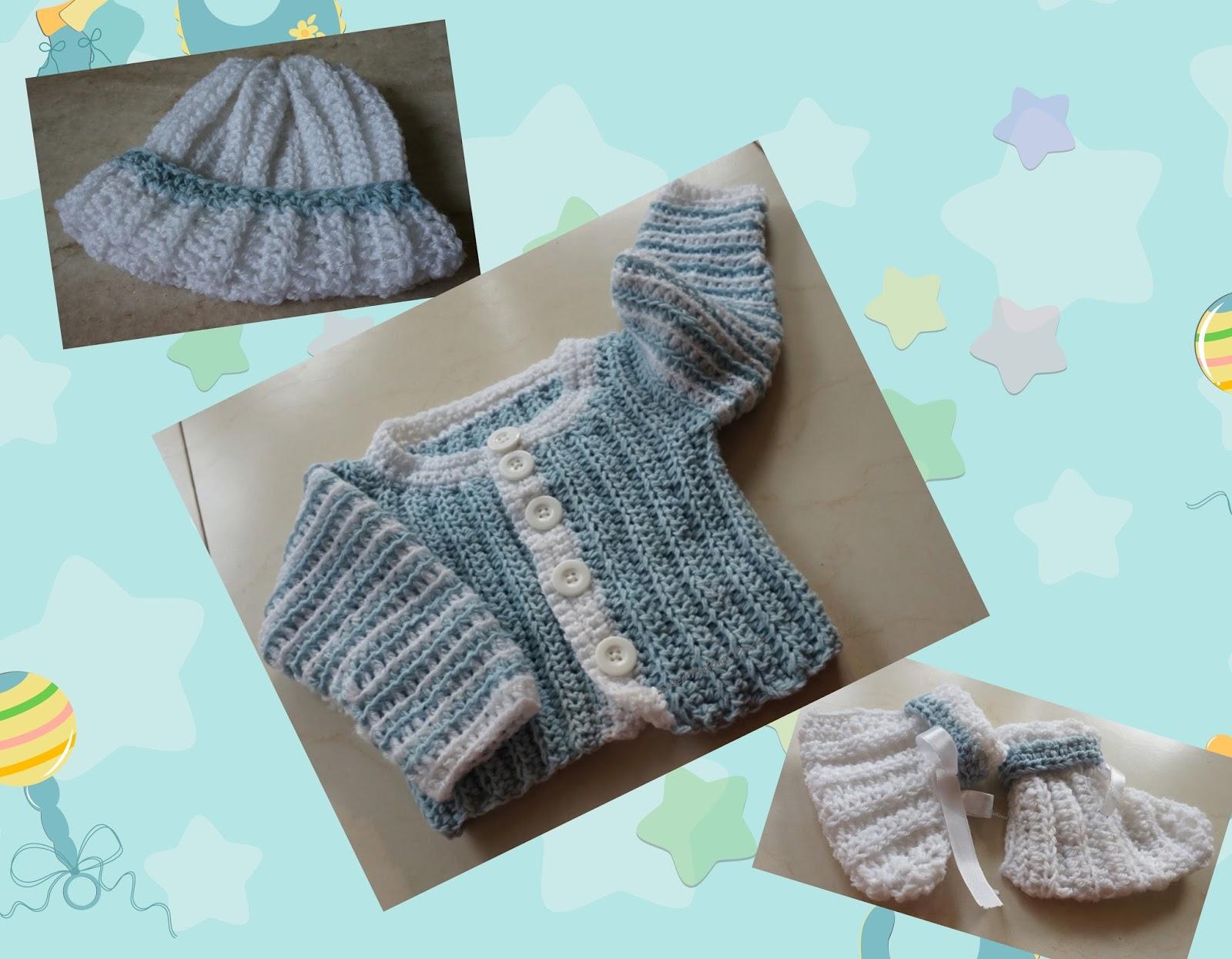 Sweet Nothings Crochet Baby Boy Jacket With Matching Cap N Socks