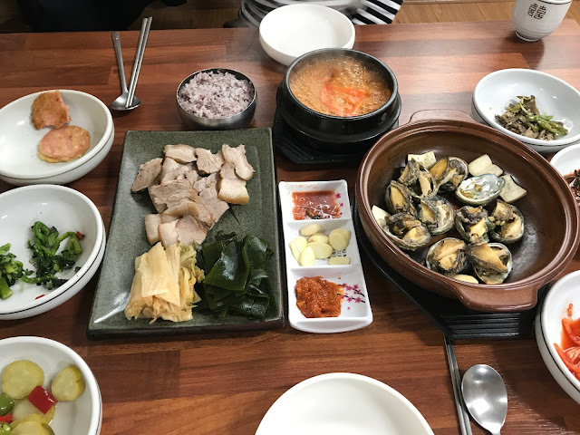 Jeju island Steamed Abalone and Steamed Pork Slices with Ripened Kimchi and Kelp Yongdamgol