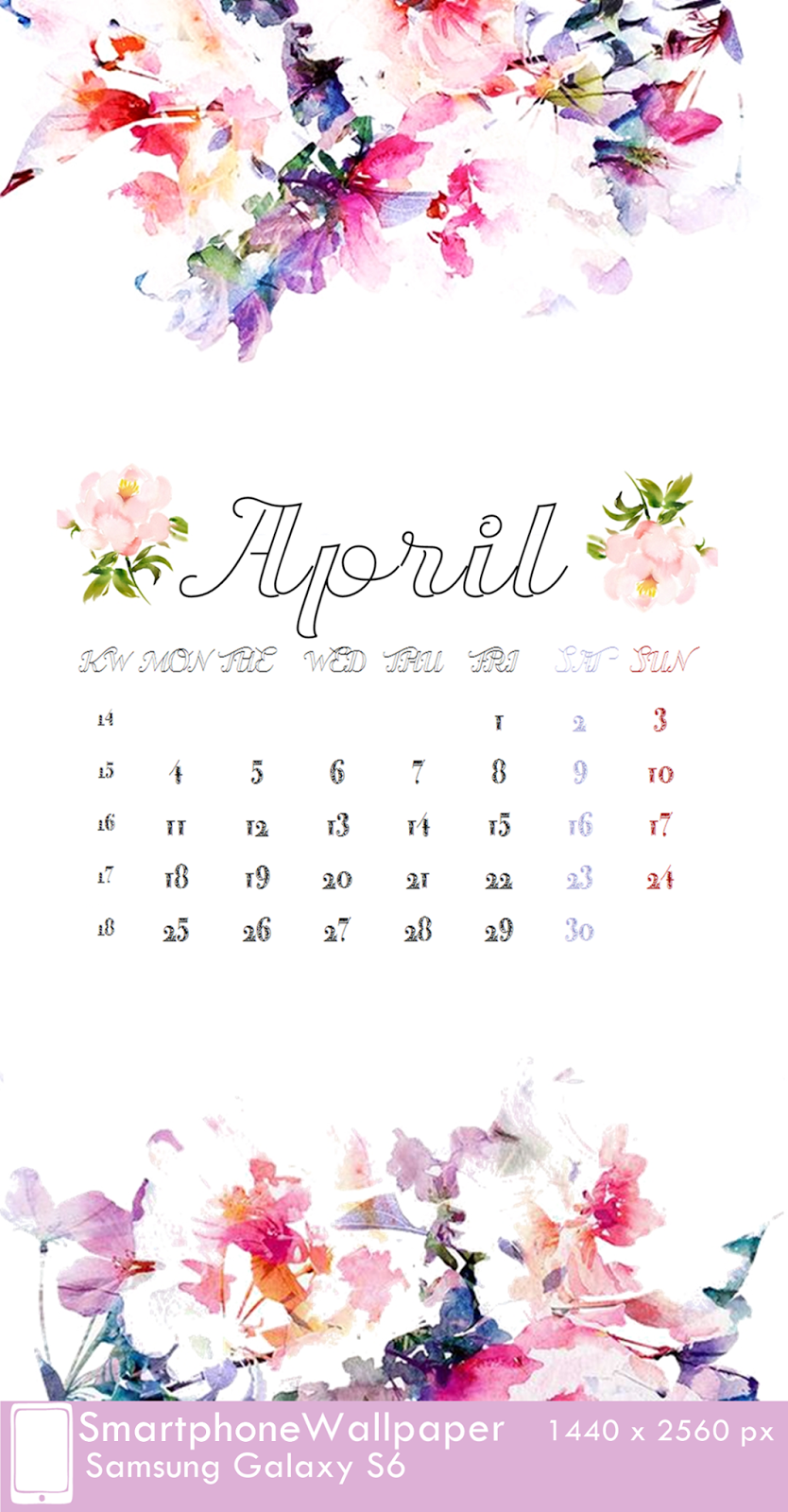 Samsung Galaxy S6 Wallpaper Calendar April 2016 fest 1440 x 2560 px