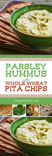 Parsley Hummus with Whole Wheat Pita Chips found on KalynsKitchen.com