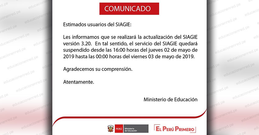 SIAGIE COMUNICADO: Suspensión del Servicio el Jueves 2 y Viernes 3 de Mayo - MINEDU - www.siagie.minedu.gob.pe